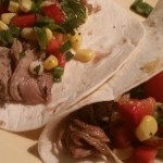 Pulled pork tortillas w/corn, capsicum & tomato salsa