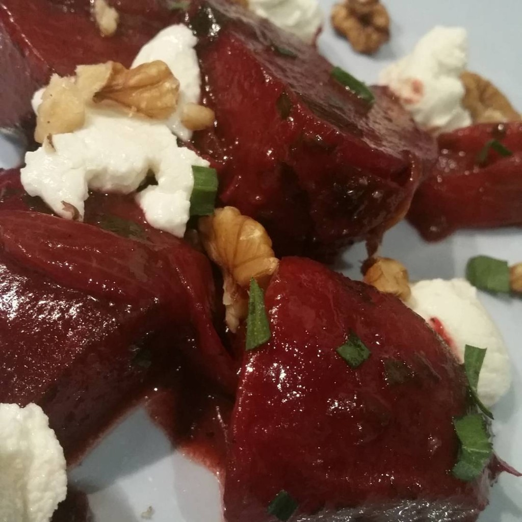 Home grown balsamic glazed beetroots wgoats cheese walnuts and tarragonhellip