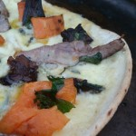 Sweet potato, lamb & blue cheese pizza.