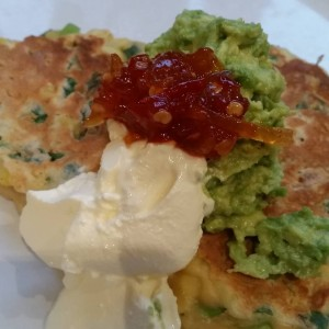 My #everyfuckingnight - corn fritters with avocado, sour cream and today's chilli jam.
