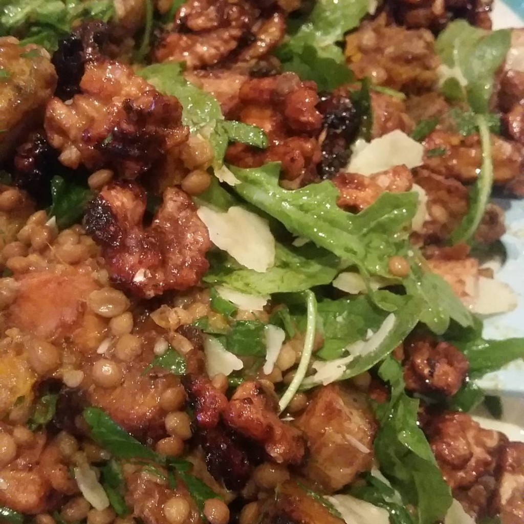 everyfuckingnight  roasted vegetable lentil and rocket salad with honeyroastedhellip