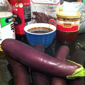 Eggplants, chilli bean paste, vinegar, szechuan peppers